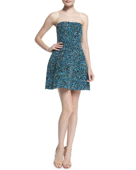 Monique Lhuillier Strapless Embroidered Party Dress, Cobalt