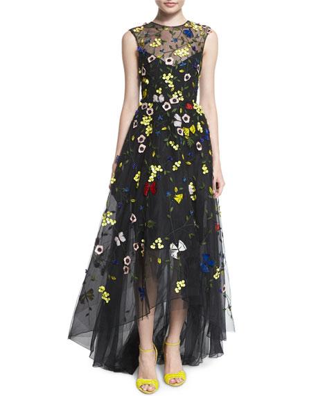 Monique Lhuillier Floral-Embellished High-Low Gown, Black Floral