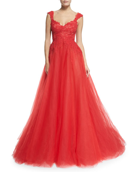 Monique Lhuillier Sleeveless Lace & Tulle Ball Gown,
