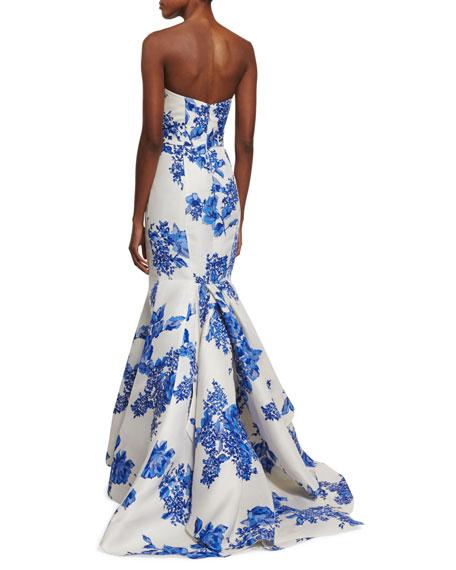 Strapless Floral-Print Mermaid Gown, Cobalt