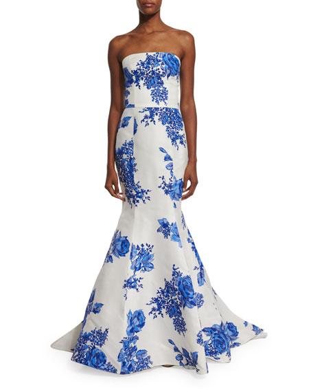 Monique Lhuillier Strapless Floral-Print Mermaid Gown, Cobalt