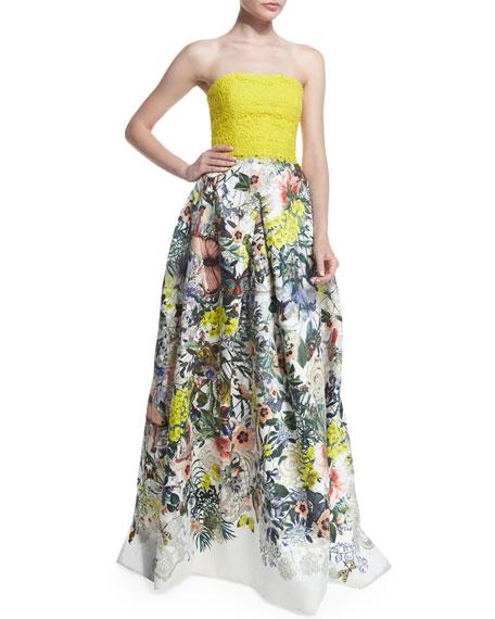 Monique Lhuillier Strapless Lace & Floral-Print Gown, Yellow