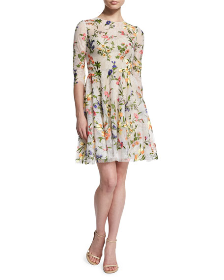 Monique Lhuillier 3/4-Sleeve Floral-Embroidered Dress, Multi Colors