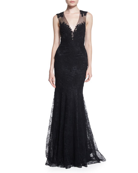 Monique Lhuillier Sleeveless Lace Illusion Gown, Black
