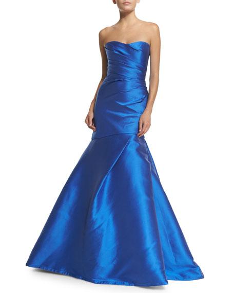 Monique Lhuillier Sweetheart-Neck Mermaid Gown, Cobalt