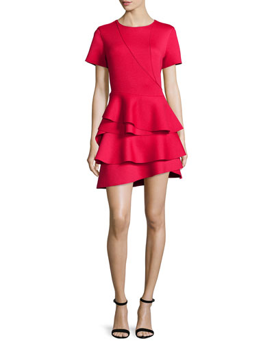 Short-Sleeve Ruffle-Skirt Dress, Red