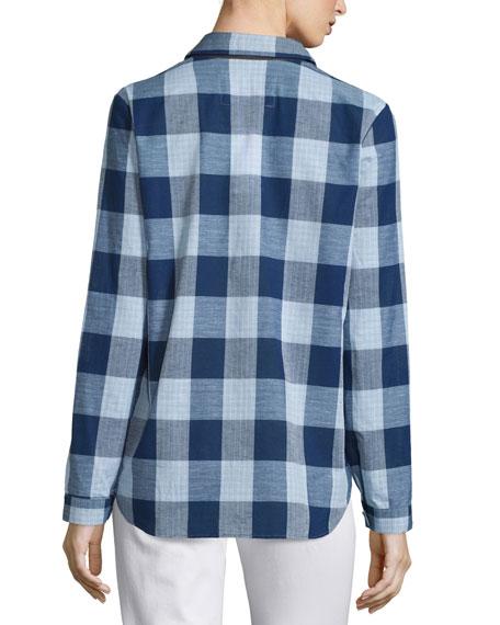 Long-Sleeve Cotton/Linen Plaid Blouse