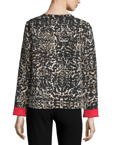 Leopard Open-Front Jacket W/Contrast Cuffs, Black/Multi