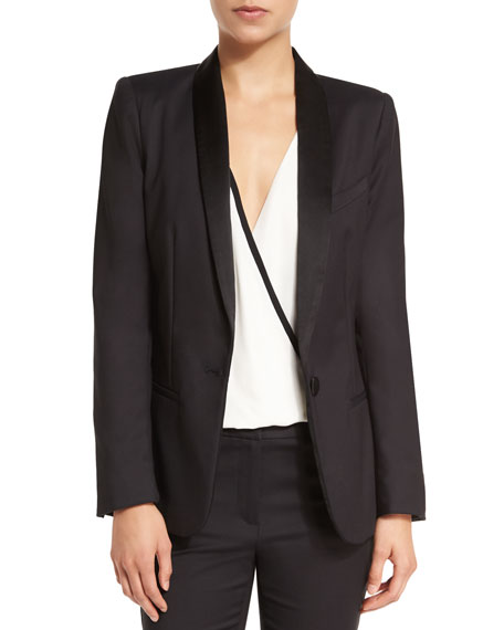 L'Agence Antoni Cotton-Blend Tuxedo Blazer, Black