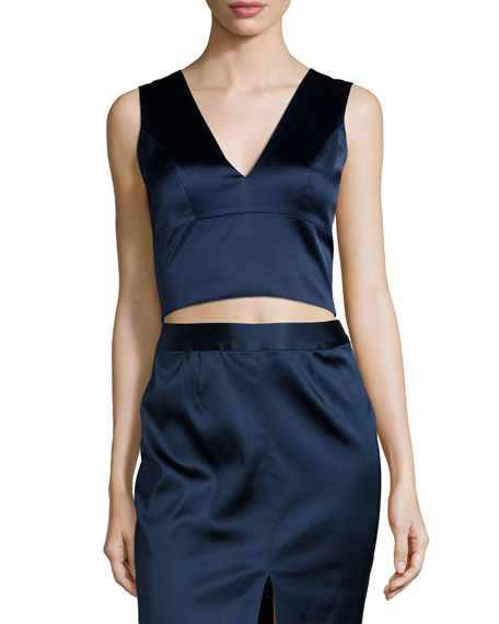 Iliana Sleeveless Satin Crop Top, Royla