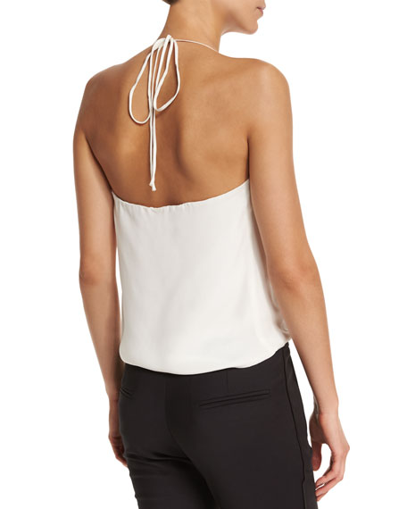Celeste Faux-Wrap Tank Top, Ivory/Black
