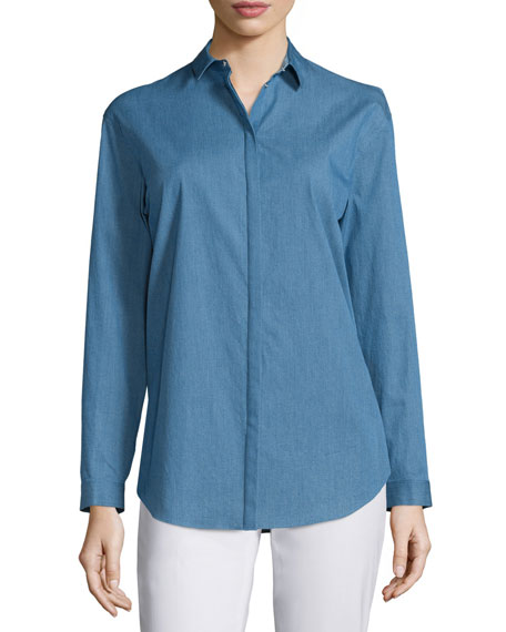 Lafayette 148 New York Sabira Button-Front Blouse, Celestial