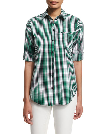 Lafayette 148 New York 3/4-Sleeve Button-Front Plaid Shirt,