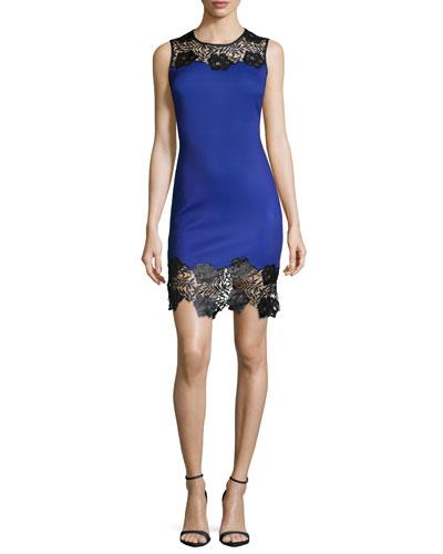 Long-Sleeve Lace-Trim Ponte Sheath Dress, Black/Purple