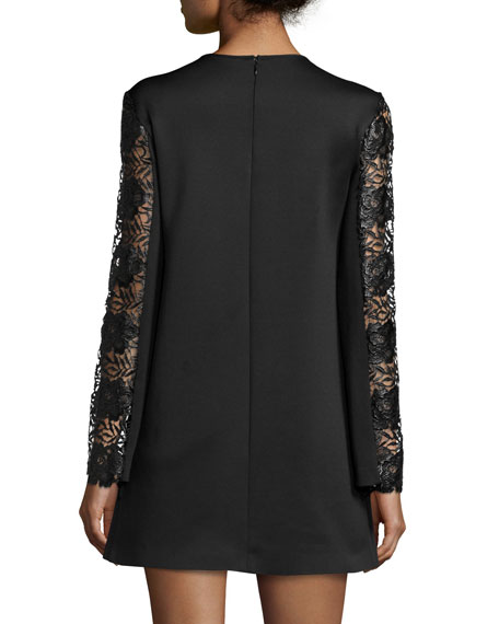 Long-Sleeve Lace-Trim Ponte Shift Dress, Black