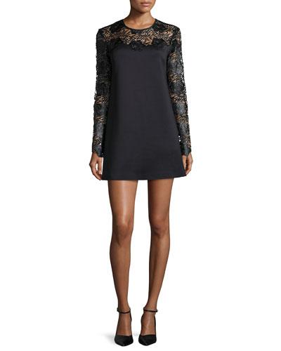 Long-Sleeve Lace-Trim Ponte Shift Dress, Black