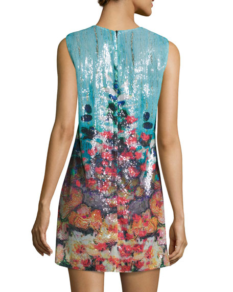 Botanical Dreams Sleeveless Sequin Dress, Multicolor