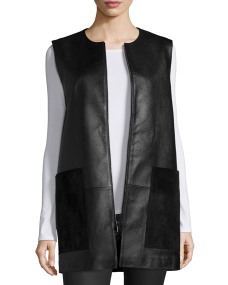 Neiman Marcus Leather Vest with Suede Pockets