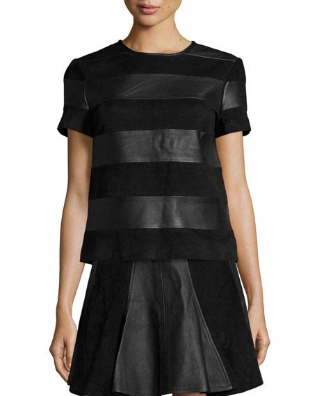 MICHAEL Michael Kors Short-Sleeve Leather & Suede Tee