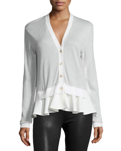 V-Neck Combo Cardigan, Pale Gray