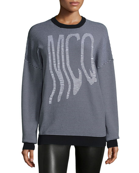 McQ Alexander McQueen Graphic McQ Striped Jumper, White/Black