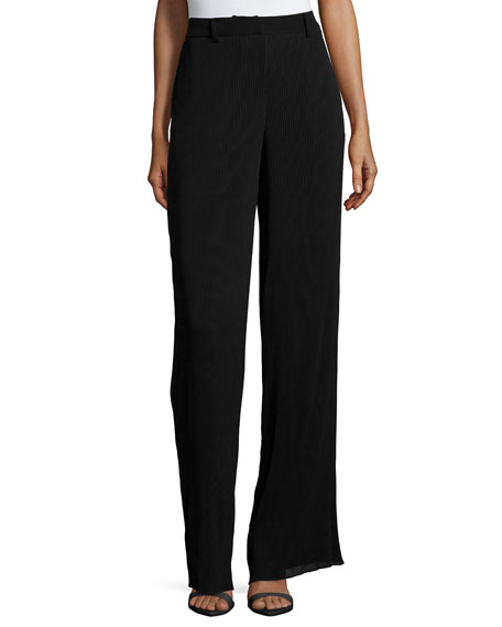 McQ Alexander McQueenPleated High-Waist Pants, Black