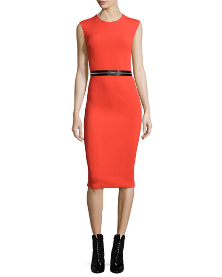 McQ Alexander McQueen Zip-Trim Bodycon Sheath Dress, Red