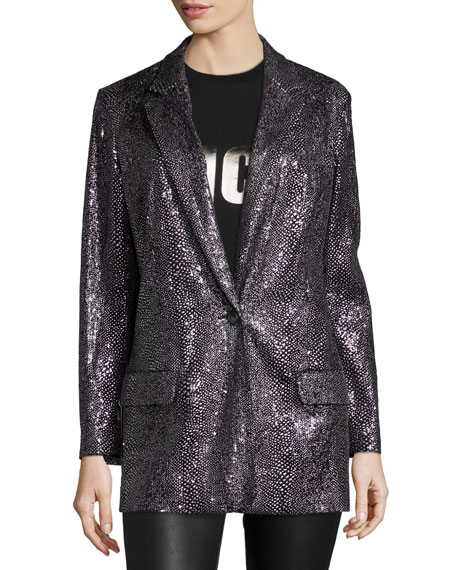 McQ Alexander McQueenSequined Long One-Button Blazer, Silver