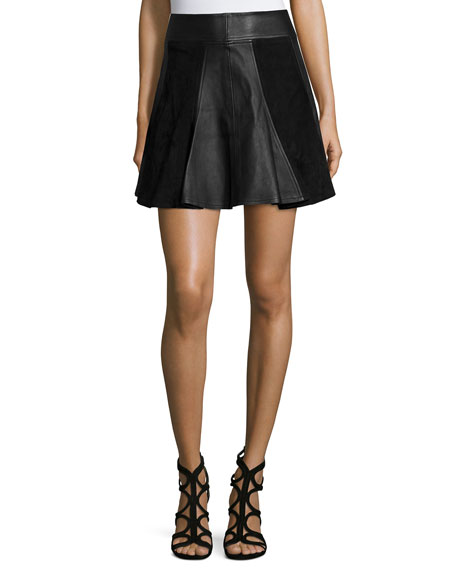 MICHAEL Michael Kors Leather & Suede Flare Skirt