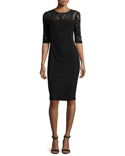 Short-Sleeve Mixed-Media Sheath Dress, Black