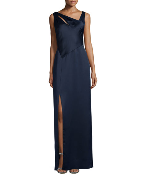 Kay Unger New York Sleeveless Asymmetric-Neck Column Gown