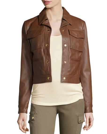 MICHAEL Michael Kors Leather Trucker Jacket