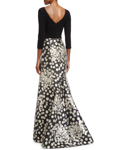 3/4-Sleeve Combo Mermaid Gown