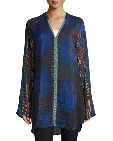 Johnny Was Collection Raindrop Printed Georgette Tunic