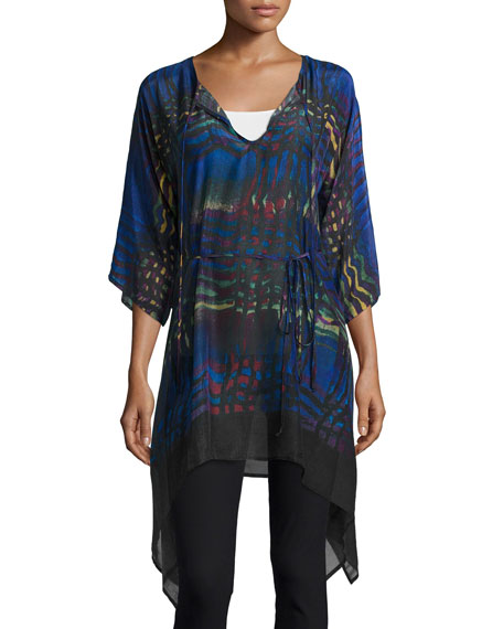 Johnny Was Collection Wiggie Long Easy Tie-Neck Tunic,