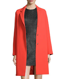 Crepe Boyfriend Coat, Red