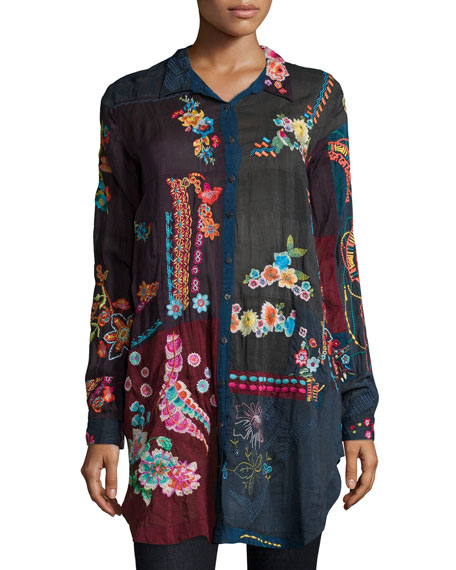 Johnny Was Collection Long-Sleeve Embroidered Specialty Tunic