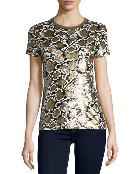 MICHAEL Michael Kors Short-Sleeve Sequined Snake-Patterned Top