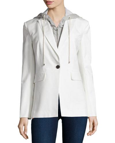 Veronica Beard Long and Lean Cotton-Blend Jacket, White
