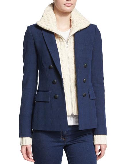 Veronica Beard Glen Plaid Wool-Blend Blazer, Blue/Black