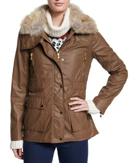 Fur-Collar Patch Pocket Coat, Mocha