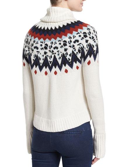 Veronica Beard Fair Isle Turtleneck Sweater, Ivory | Neiman Marcus