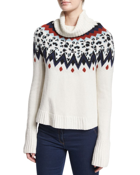 Veronica Beard Fair Isle Turtleneck Sweater, Ivory