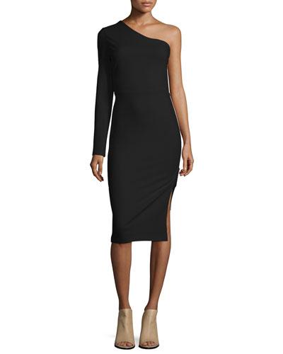 One-Sleeve Side Zip Ponte Dress, Black