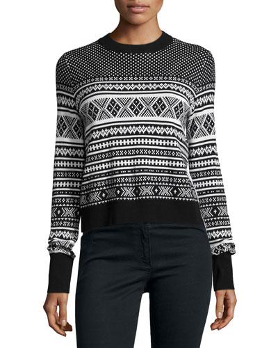 Mixed-Media Pleat Back Sweater, Black/White