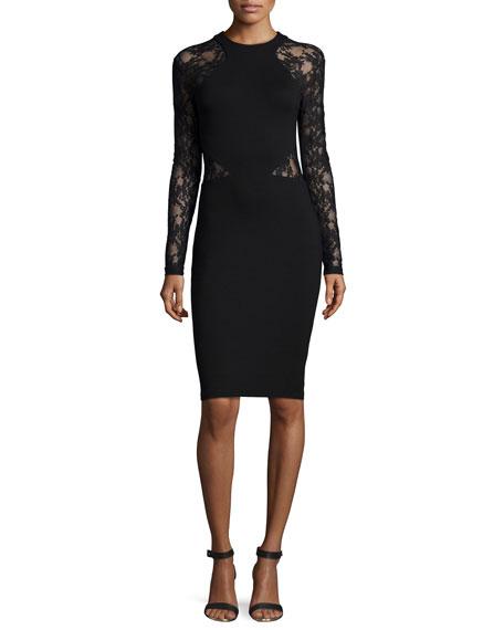 Viven Long-Sleeve Paneled Jersey Dress, Black