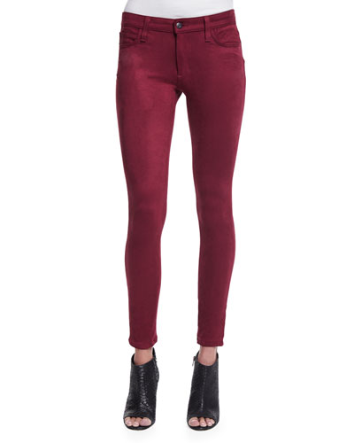 The Icon Faux-Suede Skinny Jeans, Merlot