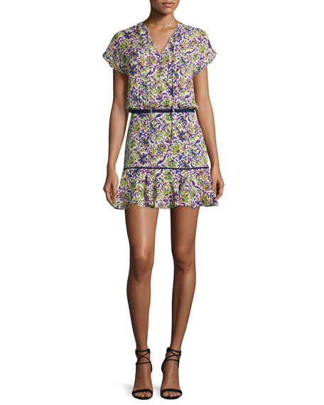 Veronica Beard Floral Silk Boho Mini Dress