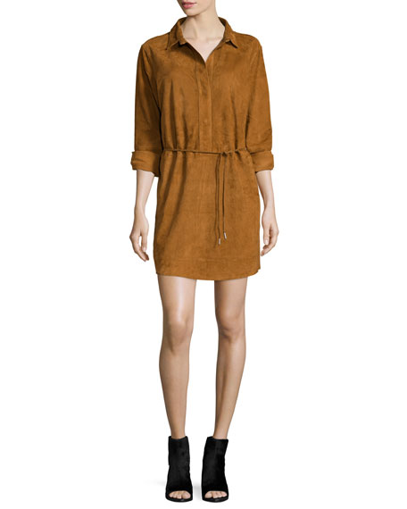 rag & bone/JEAN Leeds Suede Shirtdress, Brown