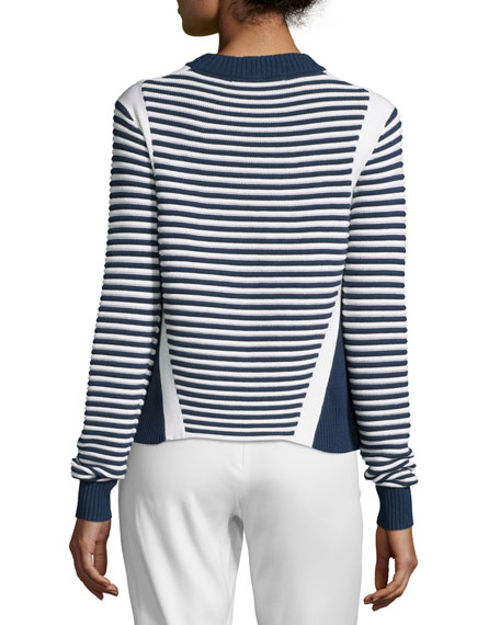 Striped Ottoman Mock-Neck Sweater, Navy/White